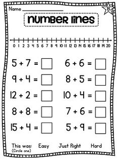 Differentiated number line worksheets! Addition to 20