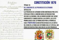 Constitución española 1876 Titulo establece la condición de provincias tanto de Cuba como de Puerto Rico.. Puerto Rico, Cuba, Historia