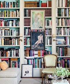 If built-ins leave no bare walls for art, plant prints right in the middle of the shelves. We love this trick if you have a collection habit you simply can't kick.Read more bookshelf decor tips »