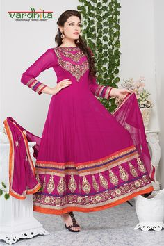 Dark pink color georgette fabric anarkali suit comes with dark pink color santoon fabric bottom & dark pink color chiffon dupatta. This suit has round neck embroidery & embroidery butta at the bottom of top. This suit can be stitched up to size 44.  http://www.vardhita.co.uk/product/dark-pink-color-georgette-fabric-anarkali-suit-72-1135/
