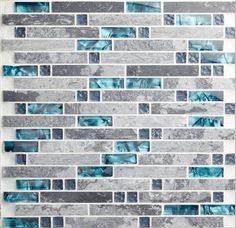 Modern Linear Wall Tile with Gray and Teal Per Sheet, Polished Marble and Glass Mosaic Backsplash for Kitchens or Bathroooms Gray Marble Backsplash Tiles Teal Blue Crystal Glass Tile Stone Mosaic Tile, Mosaic Glass, Glass Tiles, Blue Glass Tile, Glass Brick, Mosaic Stones, Grey Mosaic Tiles, Cement Tiles, Marble Mosaic