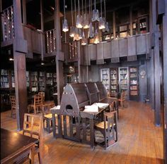 Library designed by Charles Rennie Mackintosh at the Glasgow School of Art, Scotland
