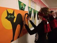 Image result for pin the tail on the cat halloween game