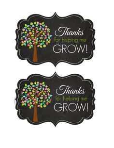 Thanks for helping US grow Teacher Appreciation card DIY Teachers Day Gifts, Teacher Gifts, Cute Gifts, Diy Gifts, Teacher Appreciation Cards, Handmade Gift Tags, Help Me Grow, Thank You Gifts, Diy Party