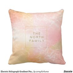 Electric Holograph Gradient Pink ID371 Throw Pillow..A modern personalized throw pillow with your name or other text of your choice on a background holographic gradient with an electric lightning bolt finish. A glam abstract design in shades of soft pink and orange. Search ID371 to see other products with this design.