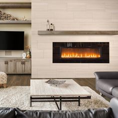 Marazzi Developed by Nature Chenille 12 in. x 24 in. Porcelain Floor and Wall Tile sq. / - The Home Depot Fireplace Accent Walls, Fireplace Feature Wall, Fireplace Tv Wall, Linear Fireplace, Bedroom Fireplace, Fireplace Remodel, Living Room With Fireplace, Living Room Decor, Living Rooms