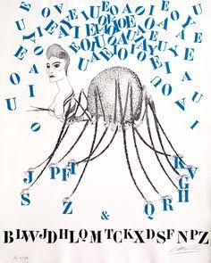 Felix Labisse lettre Tarentule des lettres Litho originale 1974