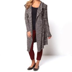 Stay warm and stylish in this women's charcoal-gray open-front cardigan. This knitted long-sleeve cardigan is great for casual fall ensembles. The rayon-and-nylon construction is comfortable, and the oversized spread collar is trendy.