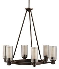Kichler Circolo Olde Bronze Modern/Contemporary Clear Glass Chandelier at Lowe's. The Circolo 6 light round chandelier features a Olde Bronze® finish and a clear outer and umber etched inner glass cylinders for a classic Round Chandelier, Chandelier Lighting, Chandeliers, Chandelier Ideas, Contemporary Chandelier, Modern Contemporary, Modern Design, Interior Lighting, Home Lighting