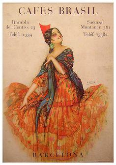 Cafes Brasil poster by Gaspar Camps Vintage Travel Posters, Vintage Postcards, Vintage Advertisements, Vintage Ads, Vintage Food, Illustrations, Illustration Art, Art Nouveau Poster, Arte Popular