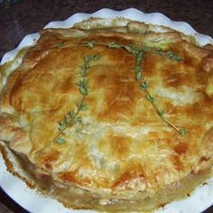 Chicken Pot Pies with Puff Pastry  http://allrecipes.com/recipe/chicken-pot-pies-with-puff-pastry/detail.aspx