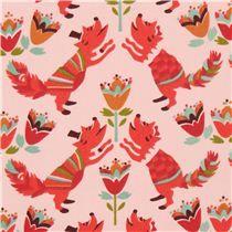 pink fox animal birch organic fabric from the USA - Animal Fabric - Fabric