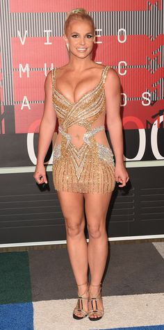 2015 Video Music Awards Red Carpet BRITNEY SPEARS Britney Spears in a metallic gold and silver dress.InStyle.com