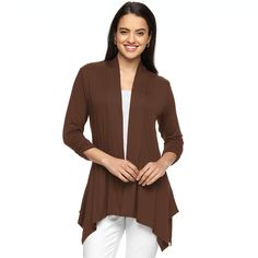 Women's AB Studio Shark-Bite Hem Open-Front Cardigan, Size: Medium, Brown