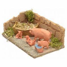 Cerdos para ambientar el pesebre Christmas Nativity Scene, Nativity Crafts, Fairy Garden Accessories, Diy Dollhouse, Toys For Girls, Fairy Village, Christmas Decorations, Diorama, Creative Crafts