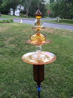 Amber recycled glass garden totem