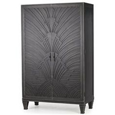 Miranda Hollywood Regency Art Deco  Carved Wood Gunmetal Cabinet
