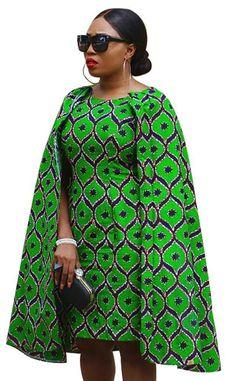Ankara Batik Cloak/Cape Dress – Things N Such Store African Dresses For Women, African Print Dresses, African Attire, African Wear, African Fashion Dresses, Fashion Outfits, African Outfits, African Clothes, African Style