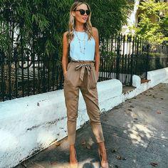 Trendy Simple Slim Tie Casual Pants
