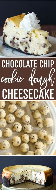 The best cheesecake recipe loaded with chunks of chocolate chip cookie dough and mini chocolate chips - a cookie dough lovers dream! via Michelle | Brown Eyed Baker