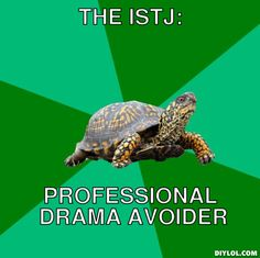 The Istj:, Professional drama avoider - this is why we're so good to work with. We don't get mired down wasting time in emotional messes.