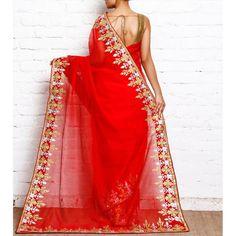 Red kota silk gota embroidered saree