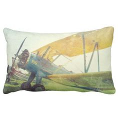 Preflight Biplane Airplane Poly Lumbar Pillow - image gifts your image here cyo personalize