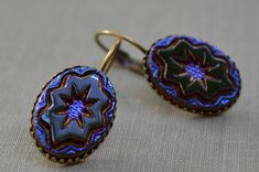 Victorian Iridescent Glass Earrings, Lever Back Vintage Glass Cabochon, Blue and Purple Star, Estate Earrings