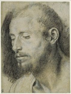 Giovanni Girolamo Savoldo (b. about 1480 Brescia, Italy, d. after 1548 Venice) - Study of the Head of a Bearded Man - Black and white chalk on gray-green paper, about 1533 - The J. Paul Getty Museum