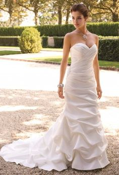 Wedding Dresses - Satin Trumpet Wedding Dress with Sweep Train from Camille La Vie and Group USA