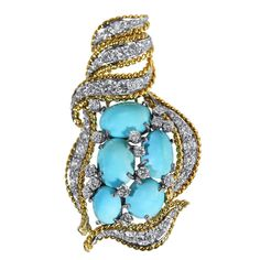 Turquoise Diamond Gold Platinum Brooch | See more rare vintage Brooches at https://www.1stdibs.com/jewelry/brooches/brooches