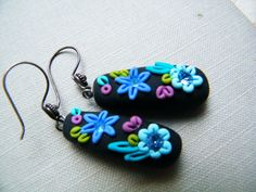 *POLYMER CLAY ~ On Sale - Black Magic - Dangling Polymer Clay Earrings.
