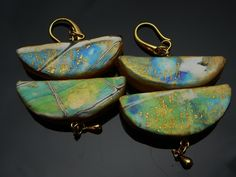Watercolor effect polymer clay earrings by Dorothy Gray.