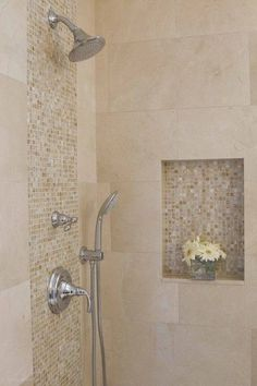 Love the highlight tiles - but not practical to add so many grout lines in the shower/wet area.