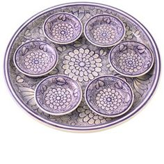 Blue and White Flowered Seder Plate by Gorky Pottery