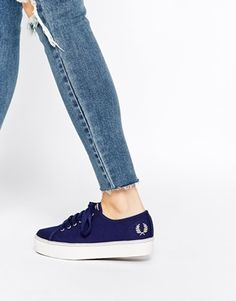 41b29d12fe5 Fred Perry Phoenix Navy Canvas Flatform Trainers at asos.com