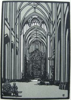 EDWARD PELLENS – Intérieur de la cathédrale d'Anvers, 1922. Wood engraving. Edition: c.160 – Signed in plate. Two-colour wood engraving by Edward Pellens for the 1922 Almanach de la Société de la Gravure sur Bois Originale. The 1924 almanach was limited to 160 copies; the 1922 does not state a limitation, but a print-run of c.160 can be safely assumed. Printed by Frazier-Soye on Madagascar. The annual almanachs of the society allowed French wood-engravers to show off to their peers.