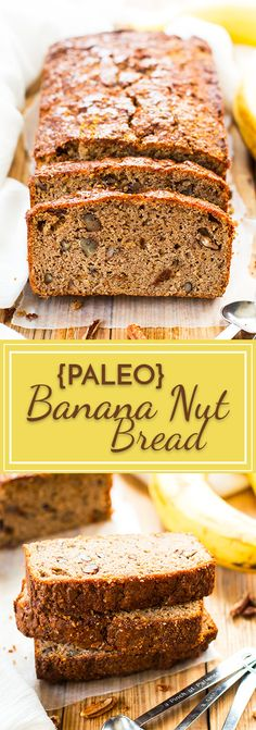 Paleo Banana Bread with Coconut Flour   This Banana Nut Bread is made with coconut flour, almond flour, almond butter, maple syrup and crunchy pecans for the perfect gluten-free and vegetarian breakfast bread, snack or dessert!
