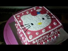 How to Easy Decorate Hello Kitty Head Square Make Birthday Cake - YouTube