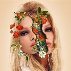 artist Marcelo Monreal Un Bounded portraits with flowers collages Art Du Collage, Surreal Collage, Surreal Art, Art Collages, Digital Collage, Art Floral, Photomontage, Photoshop, Art Visage