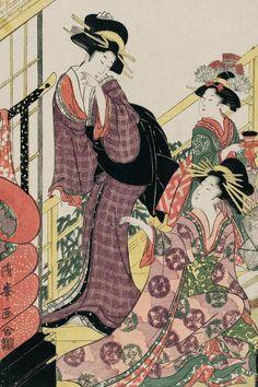 Courtesan with bedding. Ukiyo-e woodblock print, about 1840's, Japan, by artist Torii Kiyomitsu II