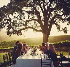small outdoor wedding reception
