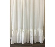 Ready to ship: White linen shower curtain with double layer mermaid long ruffles, with button holes hanging style. Handmade with prewashed white linen fabric.  Regular price: $207. 20% off  Ready to ship