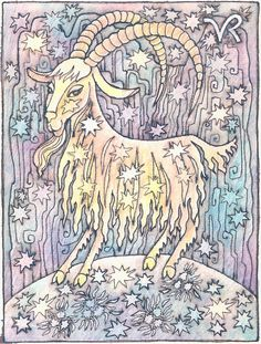 Zodiac Signs Capricorn Painting by Asya Ostrovsky Capricorn Aquarius Cusp, Zodiac Signs Capricorn, Zodiac Star Signs, Zodiac Art, Astrology Zodiac, Astrology Signs, Moon Signs, Painted Signs, Constellations