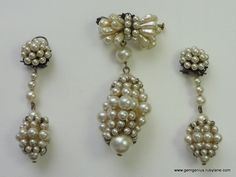 Rousselet Drop Brooch and Matching Earrings
