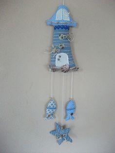 Leuchtturm* ,Tilda,Handarbeit,Stoff,Landhaus,maritim,Fisch,Seestern,Muschel