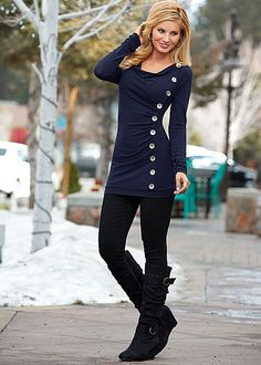 Navy Side button down sweater from VENUS. Sizes XS-XL!