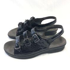 SAS Black 3 Strap Patent Leather Snake Print Slingback Sandals Womans 8 Tripad #SAS #sandals