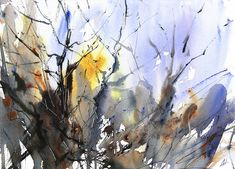 The Chaos of Winter Trees. Expressive, semi abstract watercolour by Adrian Homersham http://adrianhomersham.co.uk/