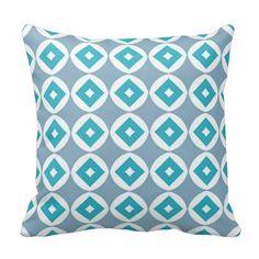 Modern Gray, Teal and White Diamond Pattern Pillow #throwpillows #decorativethrowpillows #tealgraypillows